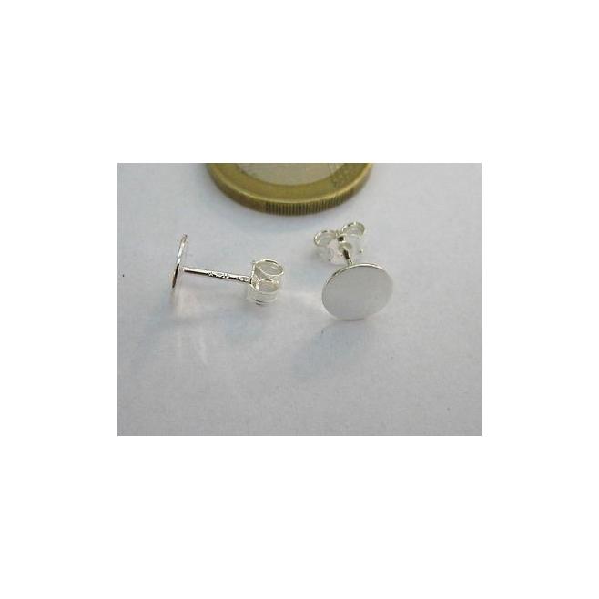 1 paio di perni per orecchini base piatta di 8 mm in argento 925 italy