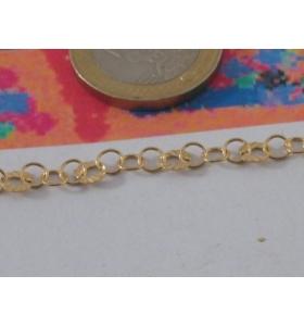 10 cm catena argento925 dorata anellini alternati a zigrinati 4x0,5 mm