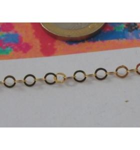 10 cm catena argento925 dorata anellini in piattina