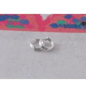 10 doppi anellini brisè da 10 mm in metallo argentato