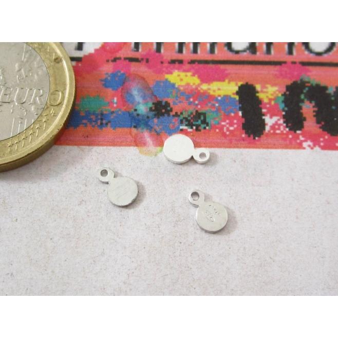 4 etichette tonde piccole in argento 925 rodiato punzonata ( italy ) (925 )