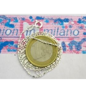 1 CATENINA LUNGA 40 CM IN ARGENTO 925 MODELLO CHICCO DI RISO E PALLINI ITALY