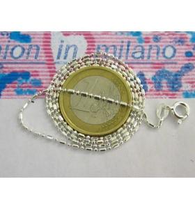 1 CATENINA LUNGA 45 CM IN ARGENTO 925 MODELLO CHICCO DI RISO E PALLINI ITALY