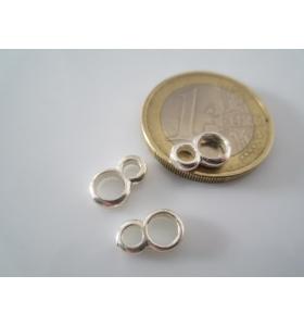 2 doppi anellini saldati in argento 925 anello grande 6 mm piccolo 5 mm