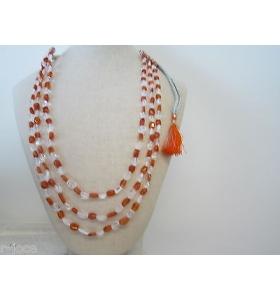 collana 3 fili cristallo corniola e cristallo di rocca montata su cordino classico orientale l. 48 cm