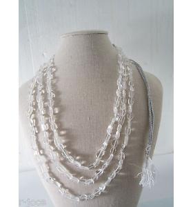 collana 3 fili pietra cristallo di rocca su cordino classico orientale lun 48 cm