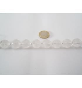 1 filodi cristallo di rocca sfaccettato e smerigliato tondo da mm. 16