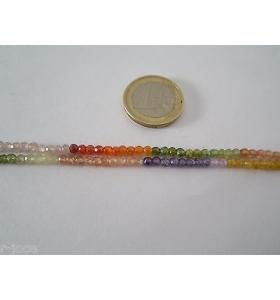 1 filo zirconi multicolor forati e sfaccettati di 3,5 x 2,5 mm lungo 17 cm asta