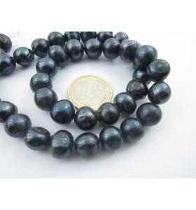 1 filo di perle grigie tondeggianti semigrezze di 11 mm coltivate acqua di mare