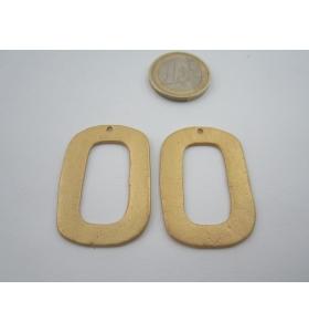 1 componente in zama placcato oro giallo satinato rettangolo grande di 39x28 mm