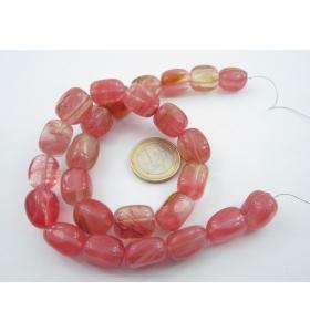 1 filo di cubetti allungati in quarzo cherry irregolari 40 cm 26 pz.