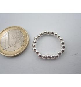 anello elastico regolabile in argento 925 sterling pallini di 3 mm misure 14mm +