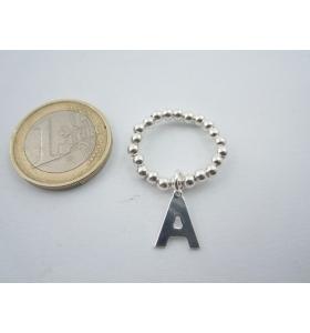 anello elastico regolabile lettera A in argento 925 pallini 3 mm misure 14mm +