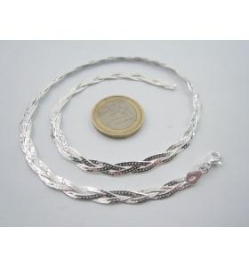 catenina lunga 50 cm tripla maglia intrecciata in argento 925 sterling italy