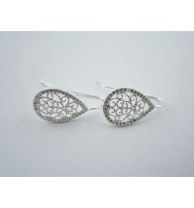 1 paio monachelle goccia filigrana argento 925 sterling e  zirconi bianchi
