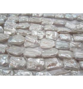 1 filo di perle grandi australiane grezze rettangolari irregolari di 22x18 mm