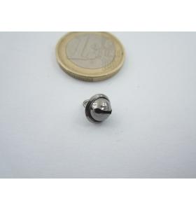 1 ciondolo charms campanellino in argento 925 placcato oro nero di 8x6 mm italy