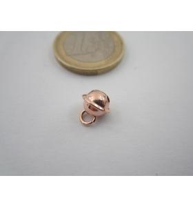 1 ciondolo charms campanellino in argento 925 placcato oro rosso 8x6 mm italy