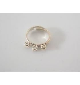 base anello regolabile con 3 coppie di anellini saldati argento 925 sterling 2