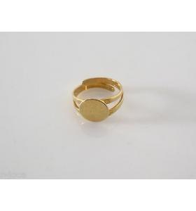 AG base anello regolabile da incollo tondo mm. 10 in argento 925 plk oro giallo