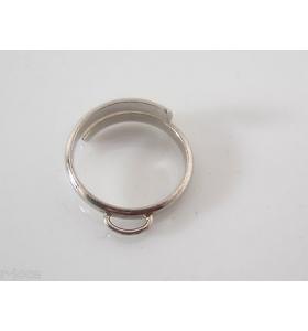 AG. base anello regolabile con anello ovale saldato in argento 925 rodiato