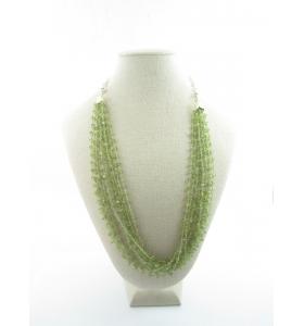 collana con 10 fili di peridoto a rosario e catena in argento 925